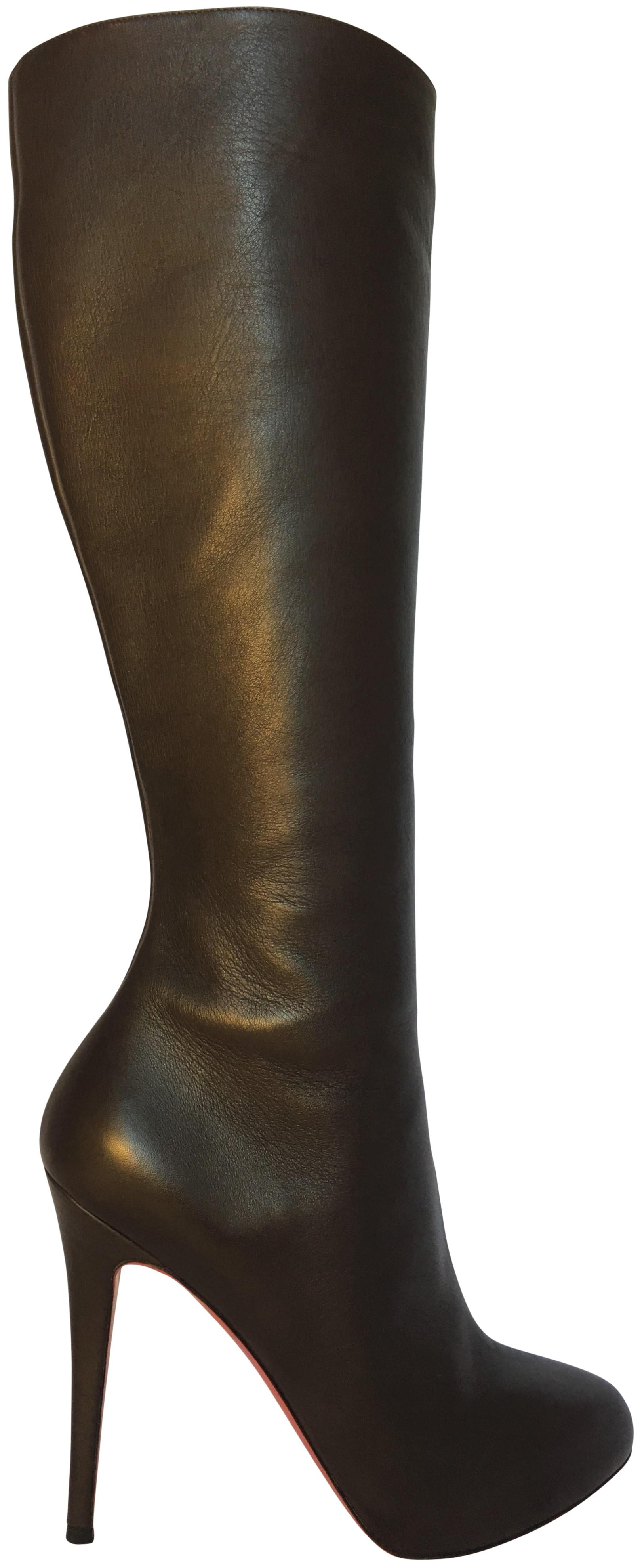 Christian Louboutin Brown Platform Over Knee 39.5it Thigh High Heel Lady Alti Zip Red Sole Boots/Booties Size US 9.5 Regular (M, B)