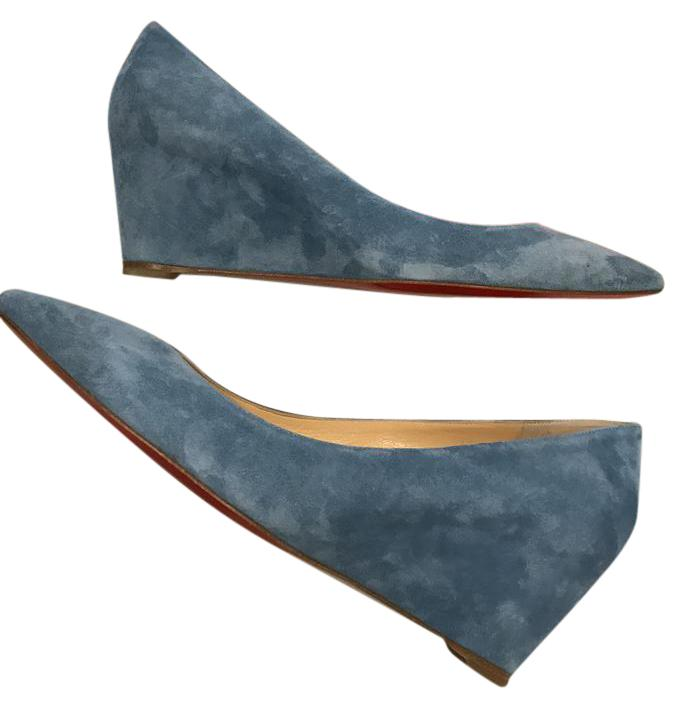 Christian Louboutin Celeste (Blue) Pipina 55 Suede Wedge Pumps Size US 9