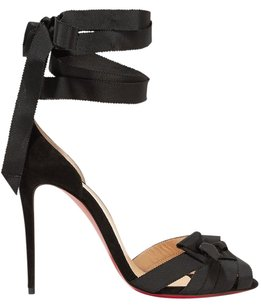 Christian Louboutin Christeriva 100mm Lace Up Black Sandals