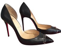 Christian Louboutin Culturella Leather Spiked Black Pumps