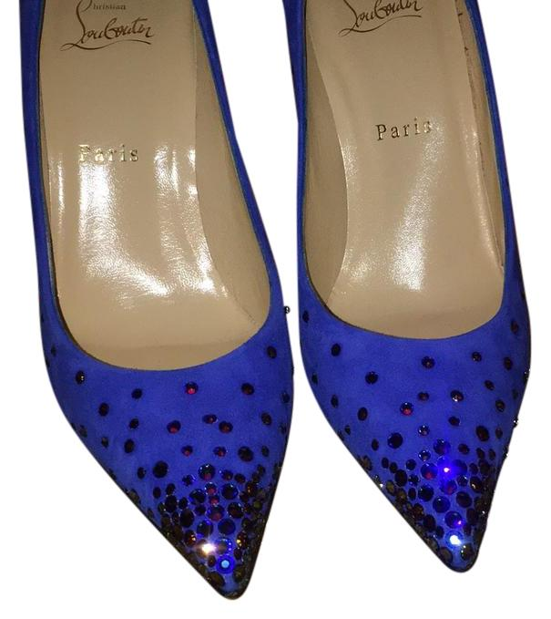 Christian Louboutin Electric Blue Degrastrass 100 Mm Crystal Suede Pumps Size US 8.5 Regular (M, B)