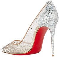 Christian Louboutin Embellished Mesh Glitter Silver Crystal-Embellished Follies Strass Pumps Pumps
