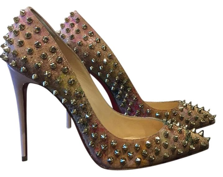 Christian Louboutin Follies Spikes Cork Multi Color Blooming Gold Beige Stiletto 37.5 Pumps Size US 7.5 Regular (M, B)