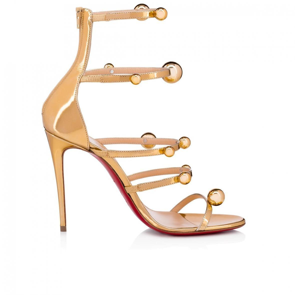 618cbdd80941 ... Christian Louboutin Gold Atonana Atonana Atonana 100 Specchio Patent  Leather Ball Strappy Sandal Heel Pumps Size ...