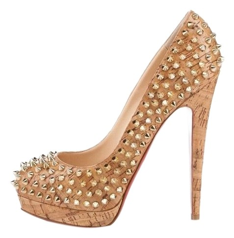 Christian Louboutin Gold Embossed Cork Alti Spike Spiked 36.5 Pumps Size US 6.5 Regular (M, B)