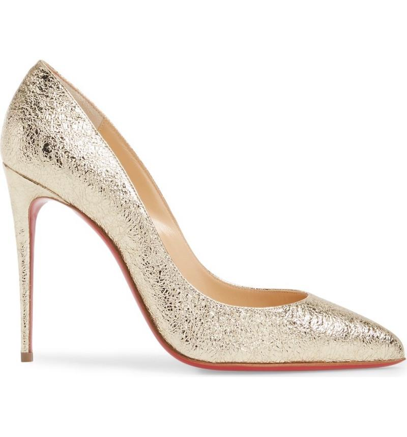 Pigalle Follies 100 Metallic Crinkled-leather Pumps - Gold Christian Louboutin rE5m9