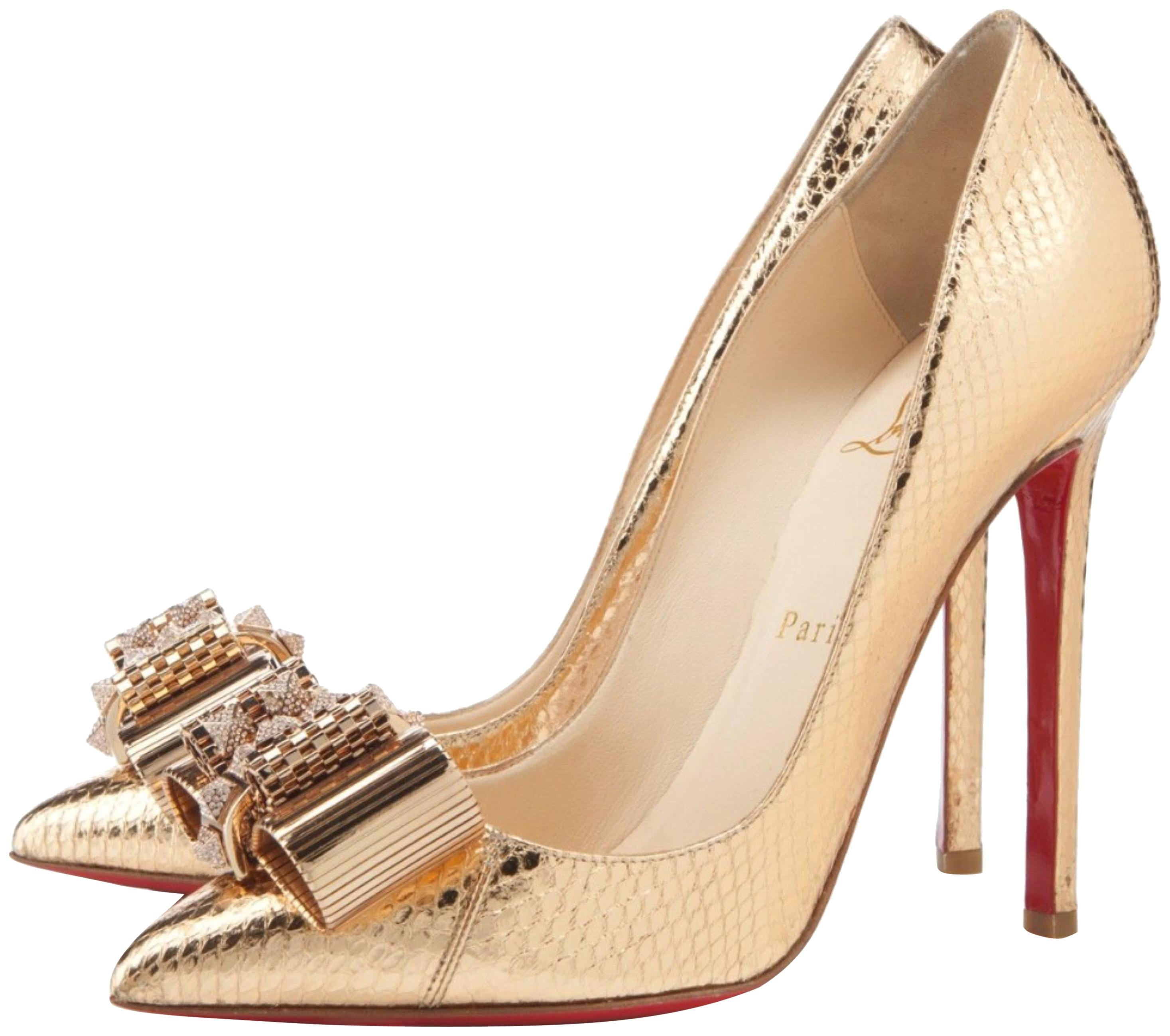 christian louboutin gold crystal pigalle