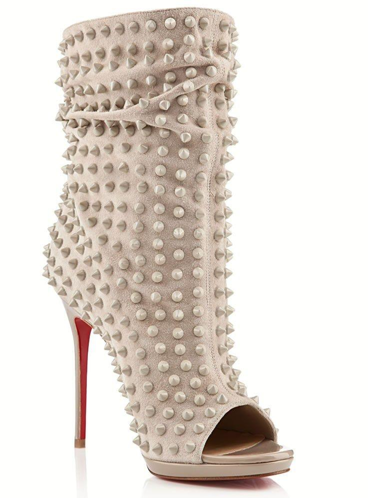 86bf65147e ... Christian Louboutin Grey Guerilla Spiked Slouchy Ankle Ankle Ankle  Boots Booties Size US 9.5 f854c1 ...