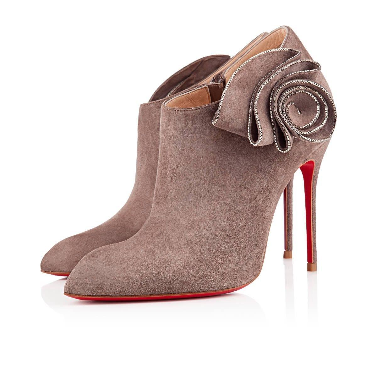 Christian Louboutin Grey Mrs Baba Suede Ankle Heels 39.5 Boots/Booties Size US 9.5