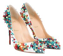 Christian Louboutin Hawaii Spikes White Multi Pumps