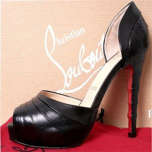 Christian Louboutin Leather Peep Toe Black Pumps