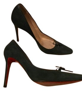 Christian Louboutin Leather Suede Louboutin Loubs Bowtie Green Pumps