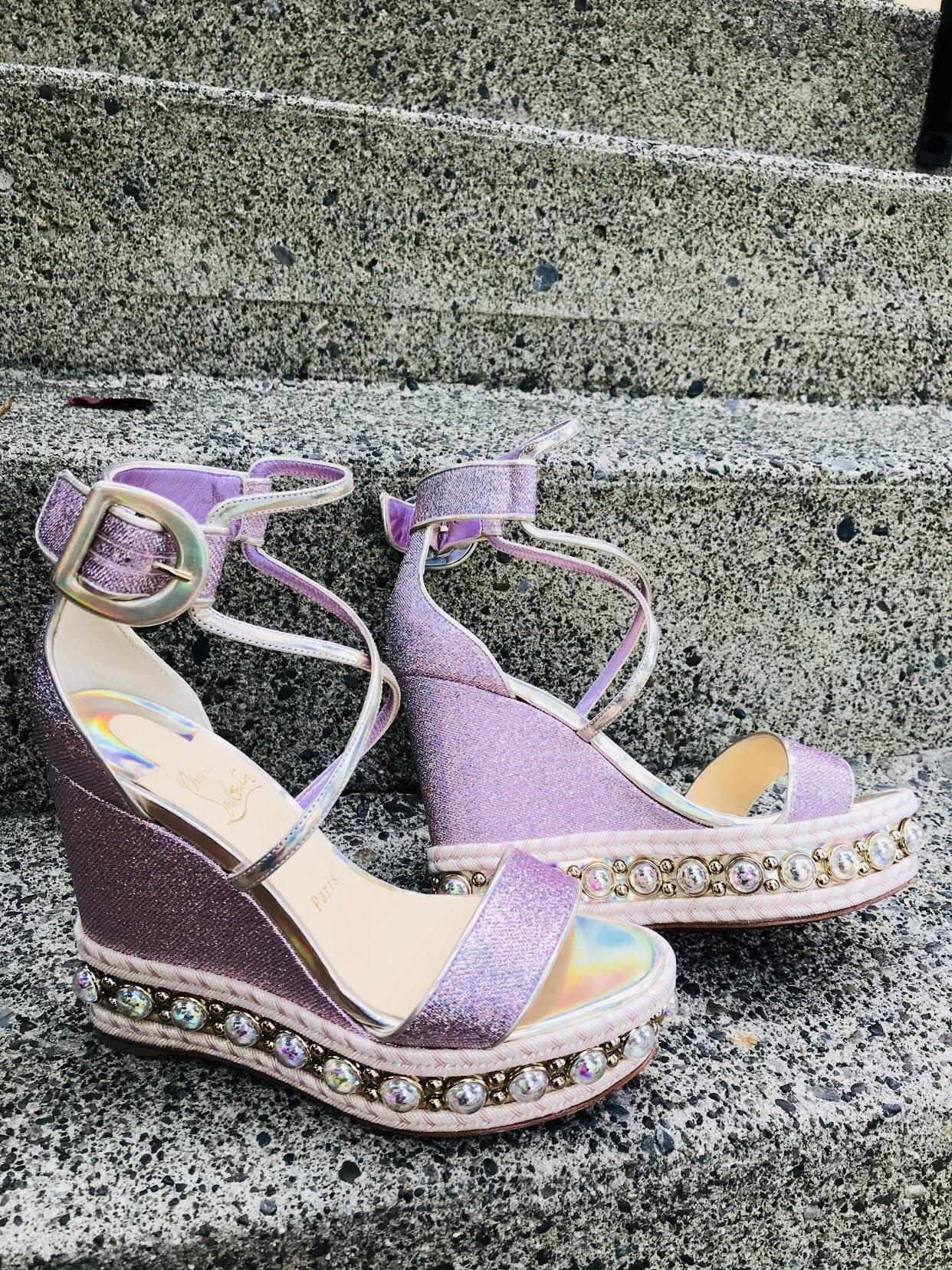 526c8b9a20f5 US 7 Christian Louboutin Lupin Chocazeppa 120 Wedges Wedges Wedges Size EU  37 (Approx.
