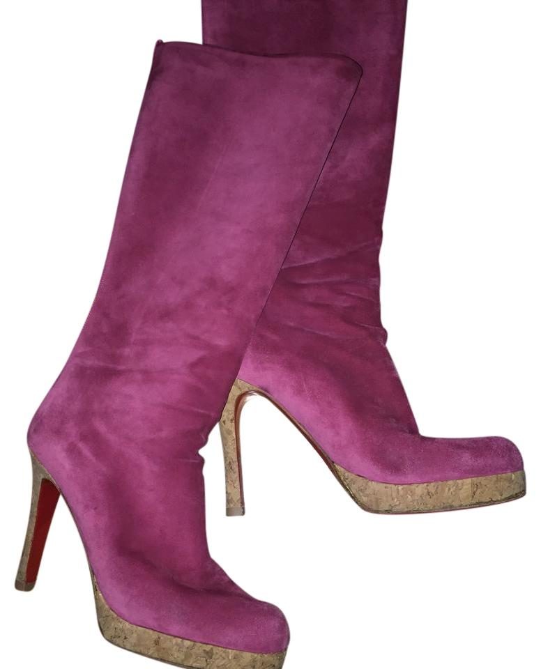 christian louboutin suede mauve boots on tradesy