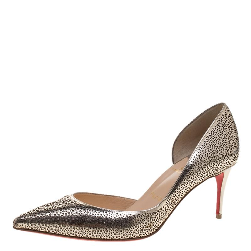 1fd6bf26c003 Christian Louboutin Metallic Gold Perforated Leather and Glitter Galu  D orsay D orsay D