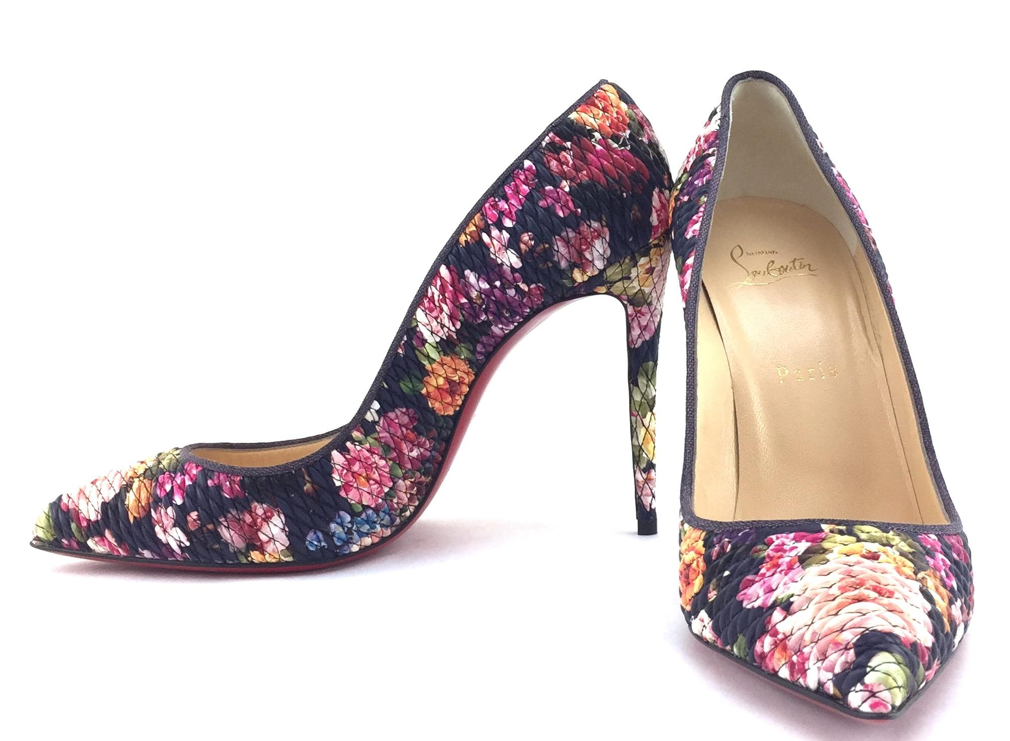 Christian Louboutin Multicolor Black Floral #21045 Quilted Leather Pigalle Follies Pumps Size EU 39.5 (Approx. US 9.5) Regular (M, B)