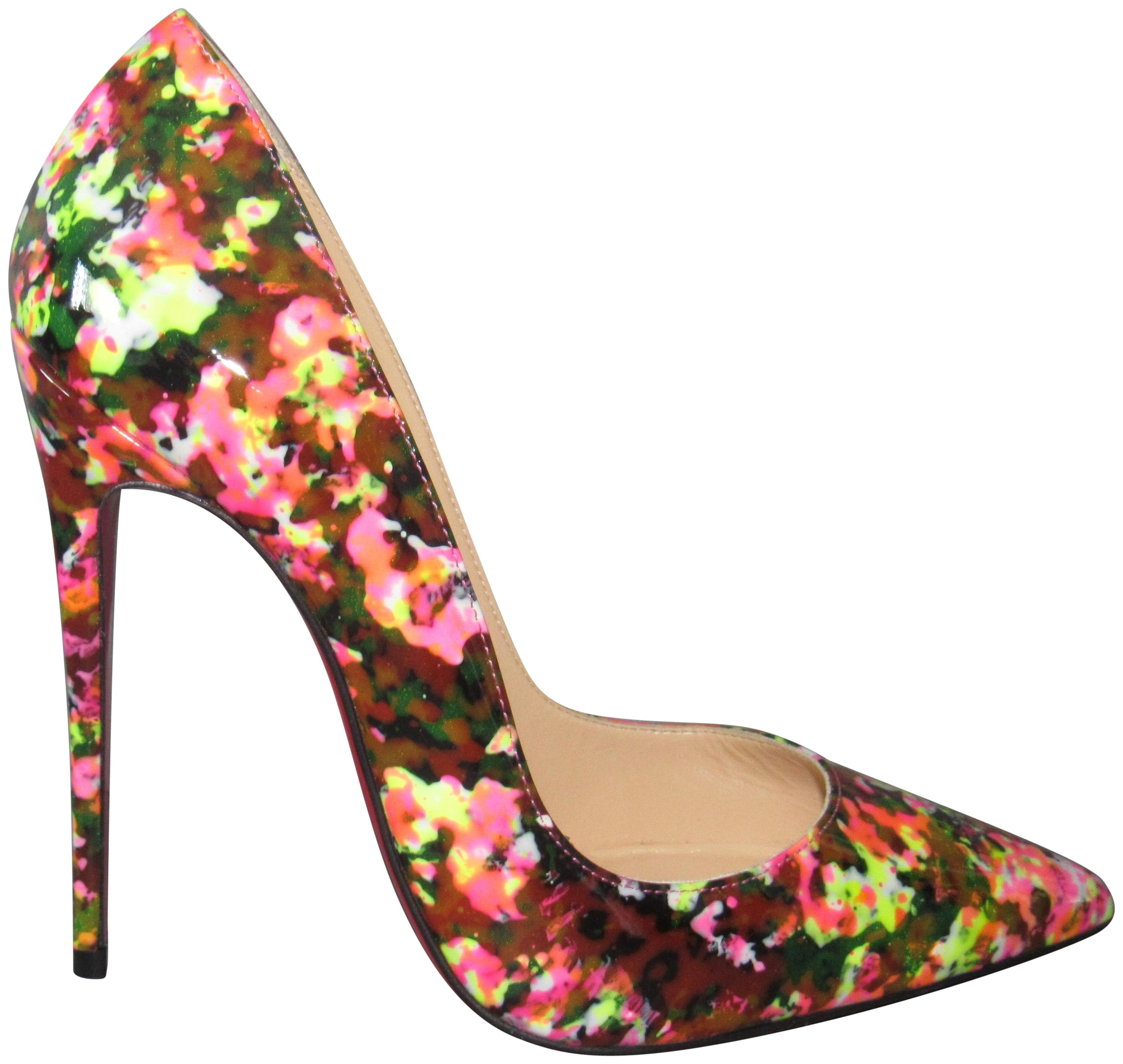 8739bfb0f9b1 Christian Christian Christian Louboutin Multicolor Neon New So Kate 120  Granite Patent Leather Pumps Size EU 37.5 (Approx. US 7.5) Regular (M