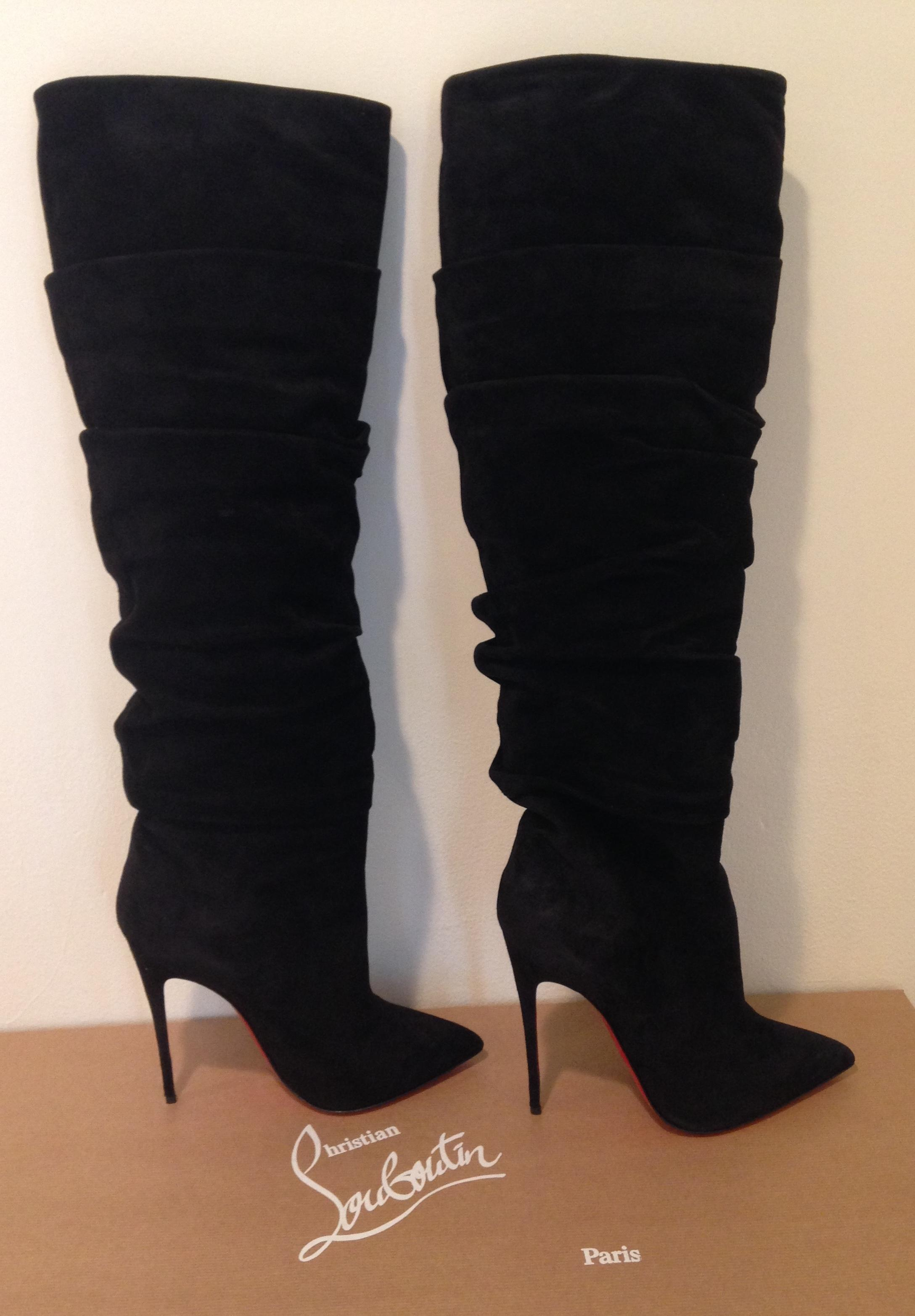 5ca2a0b0ac0f ... Christian Louboutin Louboutin Louboutin New Ishtar Botta Ruched Suede  Knee High Tall Pointed Toe 40 Boots ...