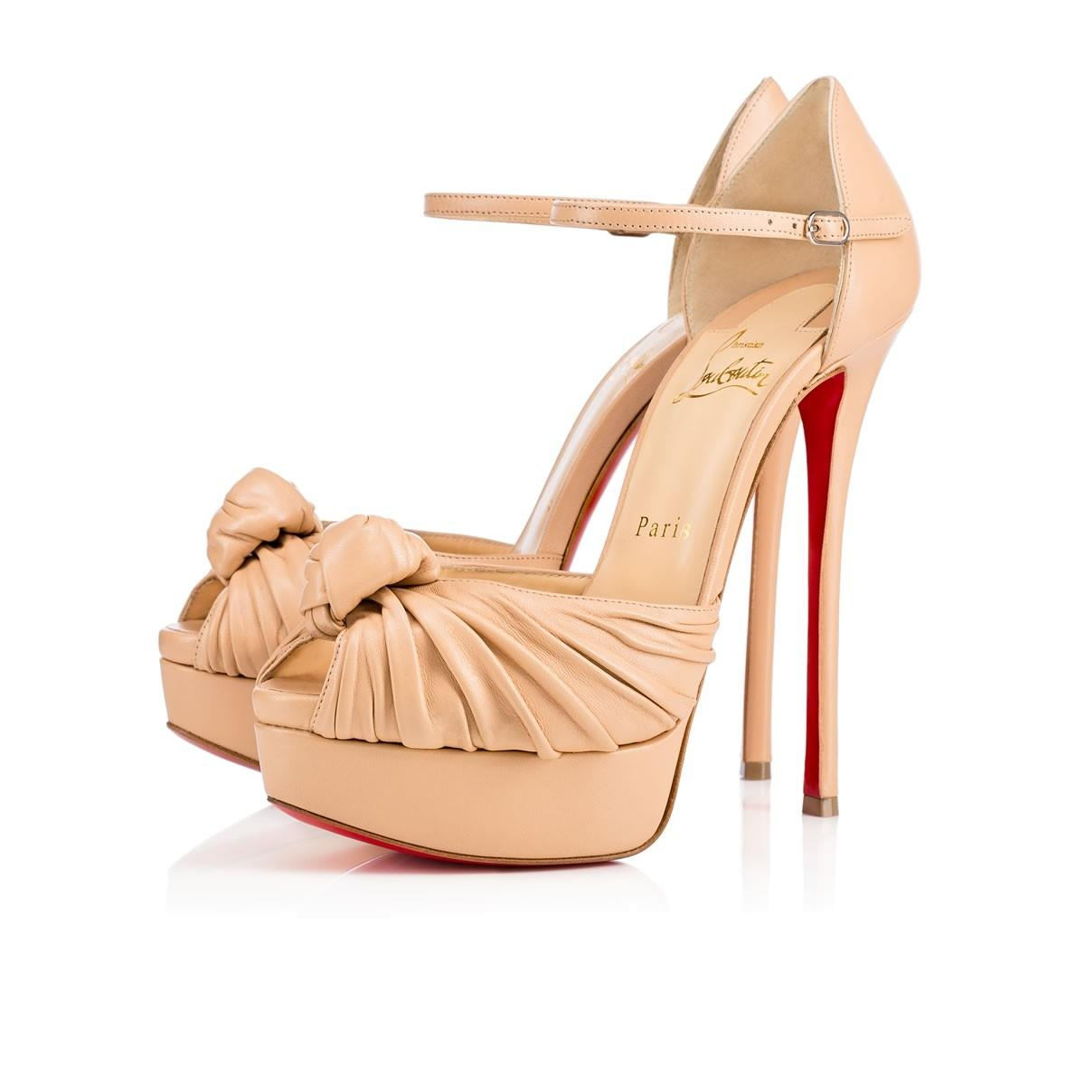 18a42c21a77 ... Christian Louboutin Nude Classic Marchavekel 150mm Nappa Leather Ankle  Strap Peep Toe Heels Sandals Size EU 39.5 (Approx. US 9.5) Regular (M