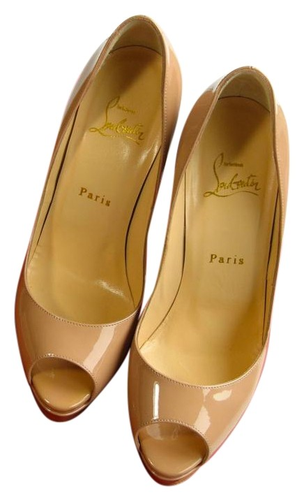 Christian Louboutin Nude Lady Peep 150 Pumps 37.5 Platforms Size US 7.5 Regular (M, B)