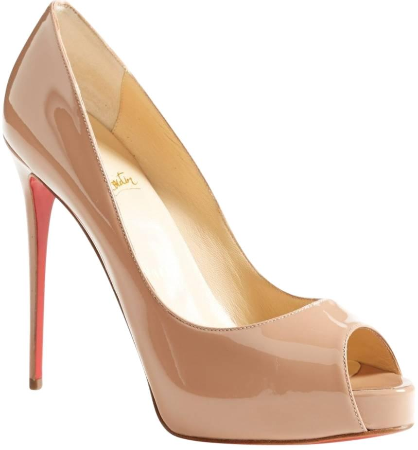 Christian Louboutin Nude New Very Prive 120 Patent Leather Peep Toe 39 Pumps Size US 9 Regular (M, B)