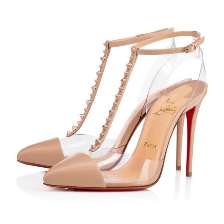 Christian Louboutin Nude Nosy Spikes Rose Gold Cap Toe Stiletto Pumps Size EU 38 (Approx. US 8) Regular (M, B)