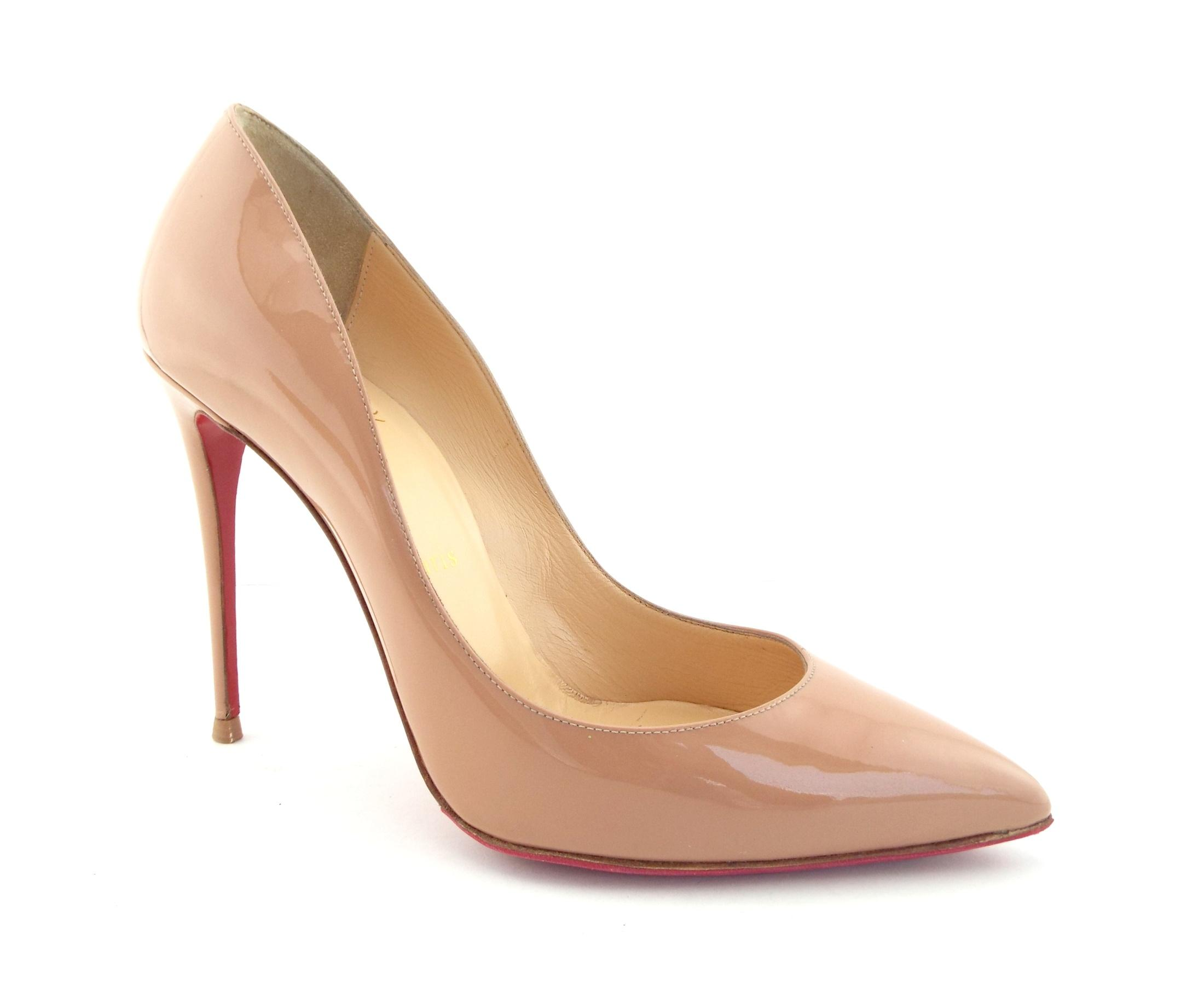 Christian Louboutin Nude Patent Leather Classic Heel Pumps Size EU 38 (Approx. US 8) Regular (M, B)