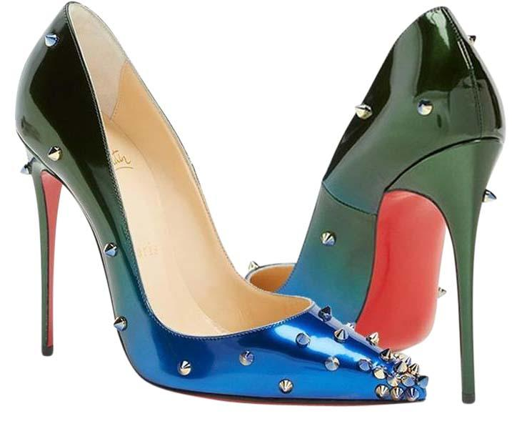 Christian Louboutin Ombre Blue Green Degraspike 120 Patent Studded Spike Ocean Amazon Pumps Size US 6