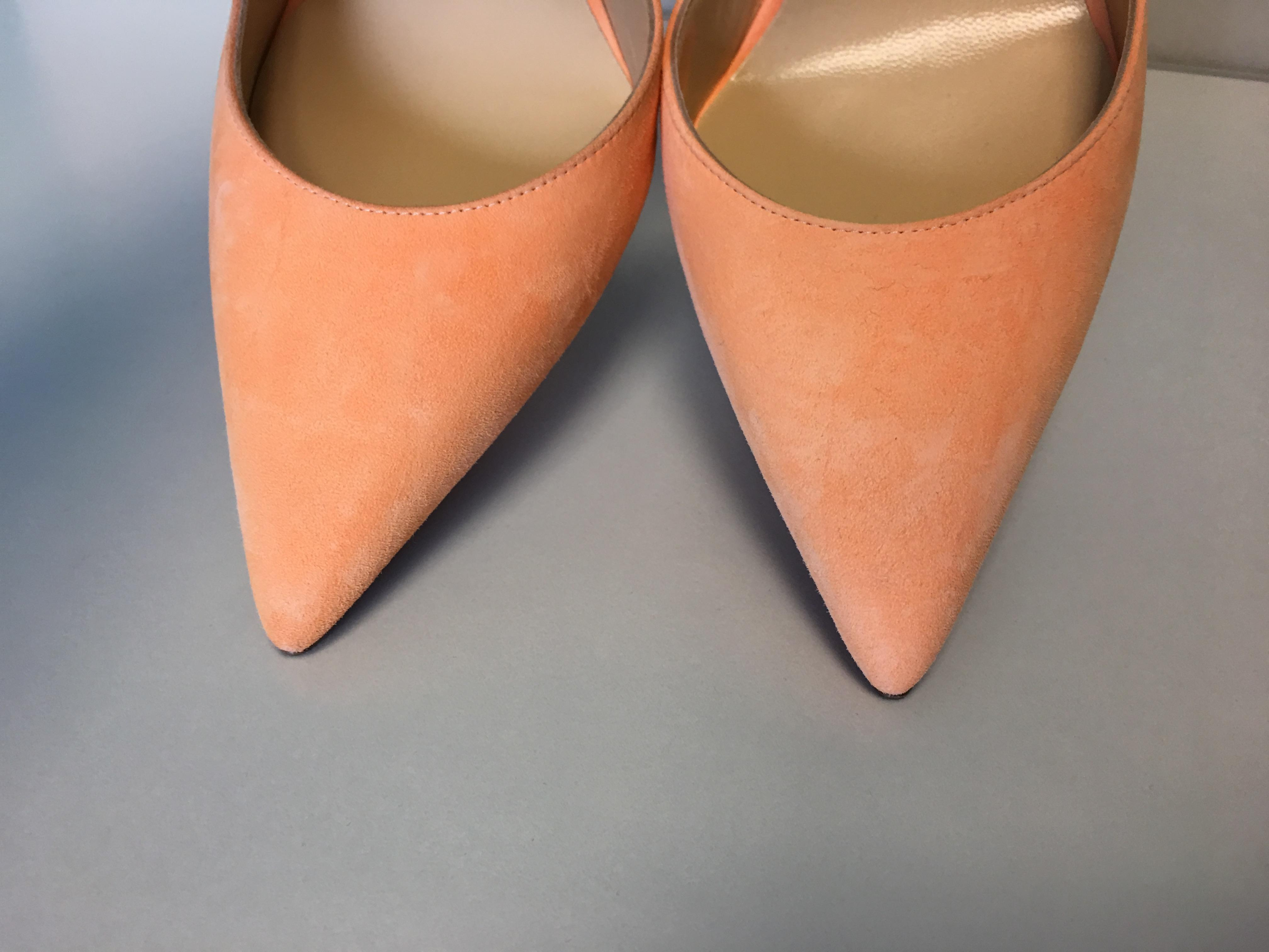 5630a1c9ea4 ... Christian Louboutin Louboutin Louboutin Orange Classic Iriza 100mm  Sunset Suede Leather Dorsay Point-toe Heel ...