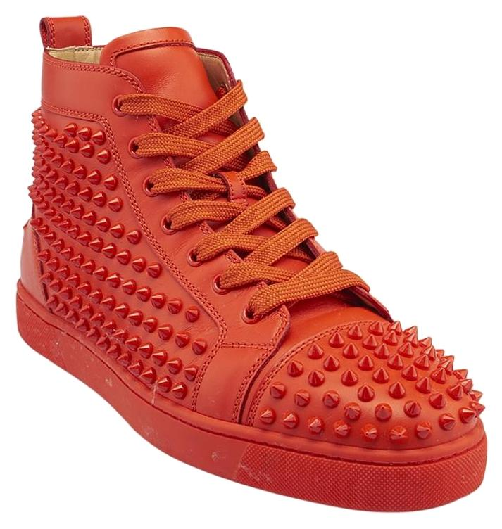 Christian Louboutin Orange Mens Louis Spikes Leather Sneakers (84659) Sneakers Size US 9