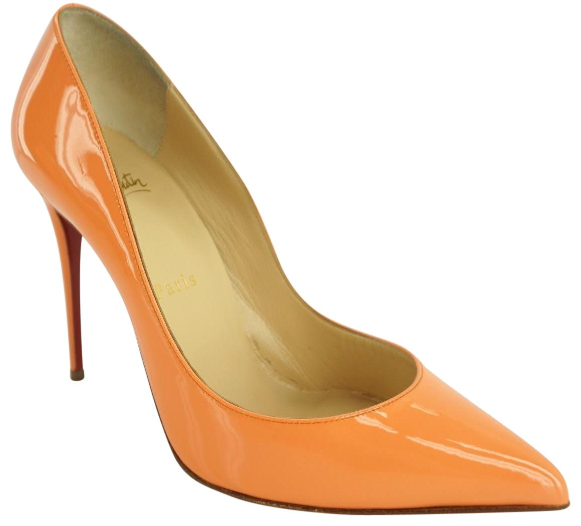 Christian Louboutin Orange Peach Patent Pigalle Follies Classic Pointy Pumps Size EU 37.5 (Approx. US 7.5) Regular (M, B)