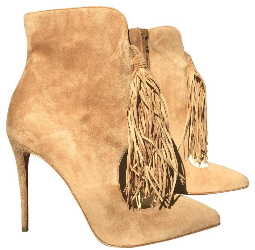 Christian Louboutin Ottocarl Noisette Suede Camel Brown Fringe 38.5 Boots/Booties Size US 8.5 Regular (M, B)