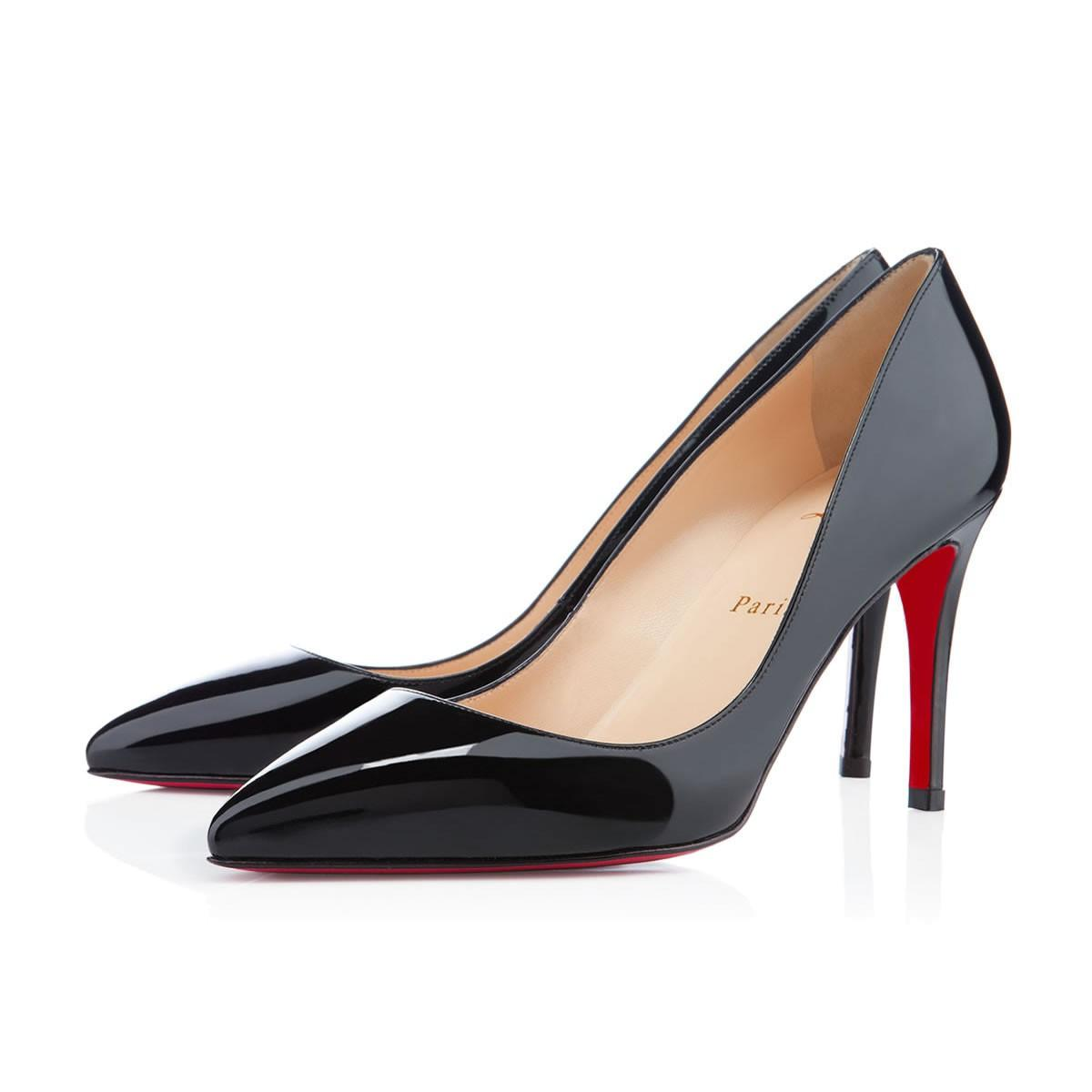 Christian Louboutin Patent Leather Pointed Toe Patent Pigalle Follies Black  Pumps