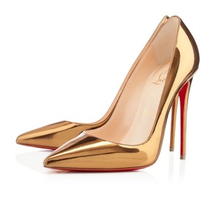 Christian Louboutin Patent Leather Pointed Toe So Kate Gold Pumps