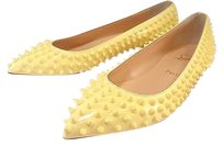Christian Louboutin Pigalle Spiked Pointed Yellow Flats