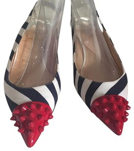 Christian Louboutin Navy/white with red spiked toe Pumps