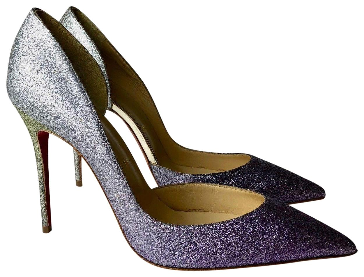 033535053cb2 Christian Louboutin Purple Silver Gold Iriza 100 Glitter Degrade Pumps  Pumps Pumps Size EU 37.5 (Approx. US 7.5) Regular (M