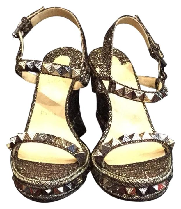 5e7d8a1abdd Christian Louboutin Pyraclou Metallic Metallic Metallic Mix Wedges Size US  8 Regular (M