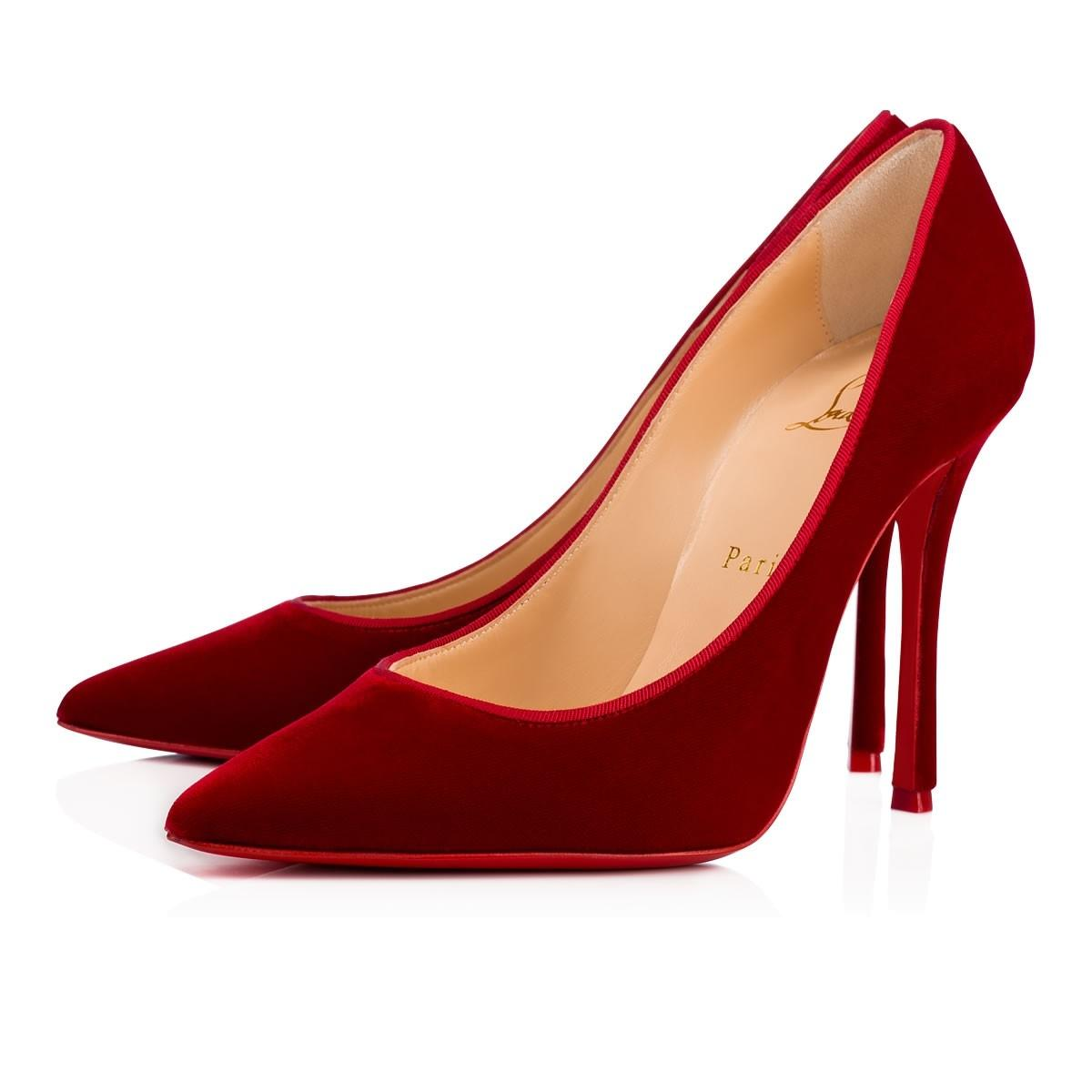 e7115a9811dc Christian Louboutin Red Decoltish 100 Rosso Rosso Rosso Velvet Pointed Toe  Heel Pumps Size EU 35 (Approx. US 5) Regular (M