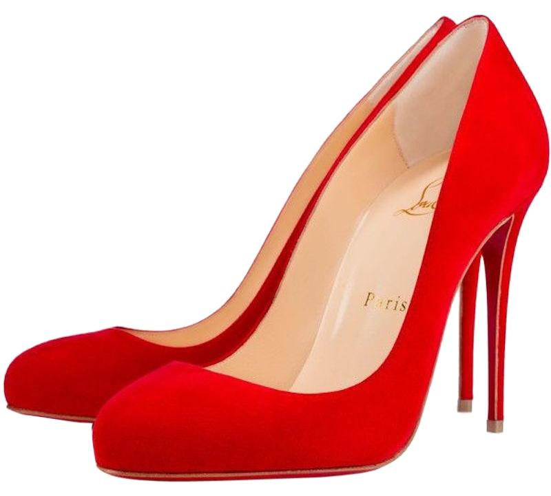 Christian Louboutin Red Dorissima 100 Oeillet Suede Classic Stiletto Round Toe Heel Pumps Size EU 38.5 (Approx. US 8.5) Regular (M, B)