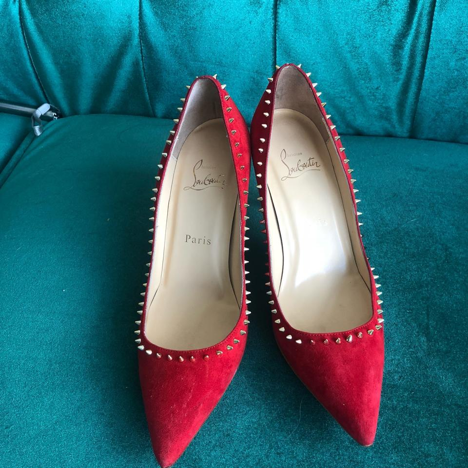 dac8621de48 85mm Christian Spiked Louboutin Red Suede Pumps sole Oeillet ...
