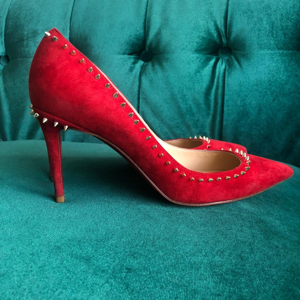 f1b3bff82781 ... Pumps Suede Metallic Anjalina Red Red 85mm sole Oeillet Louboutin  Christian Spiked vxawCTaq ...
