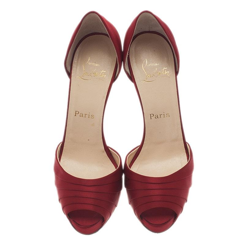 christian rouge louboutin satin rouge christian armadillo d & # 039; pompes à orsay 982321