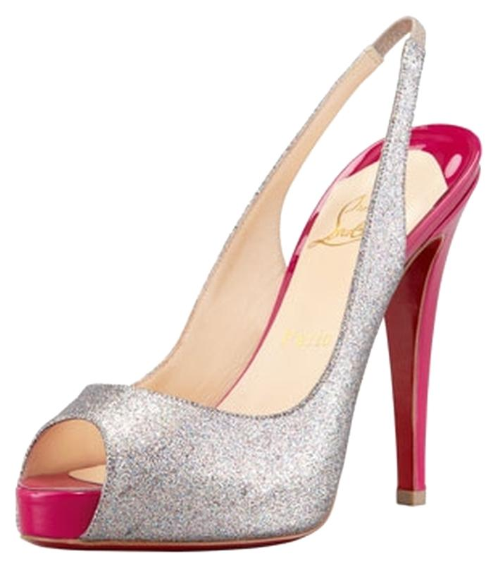 Christian Louboutin Silver and Pink No Prive Glittered Slingback Pumps Size US 10.5 Regular (M, B)