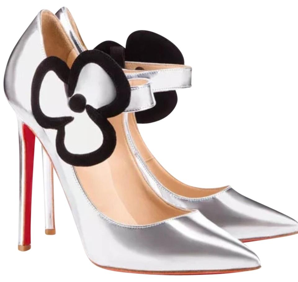 Christian Louboutin Silver Chrome /Offtoday Pensee100mm Pumps Size US 8.5 Regular (M, B)