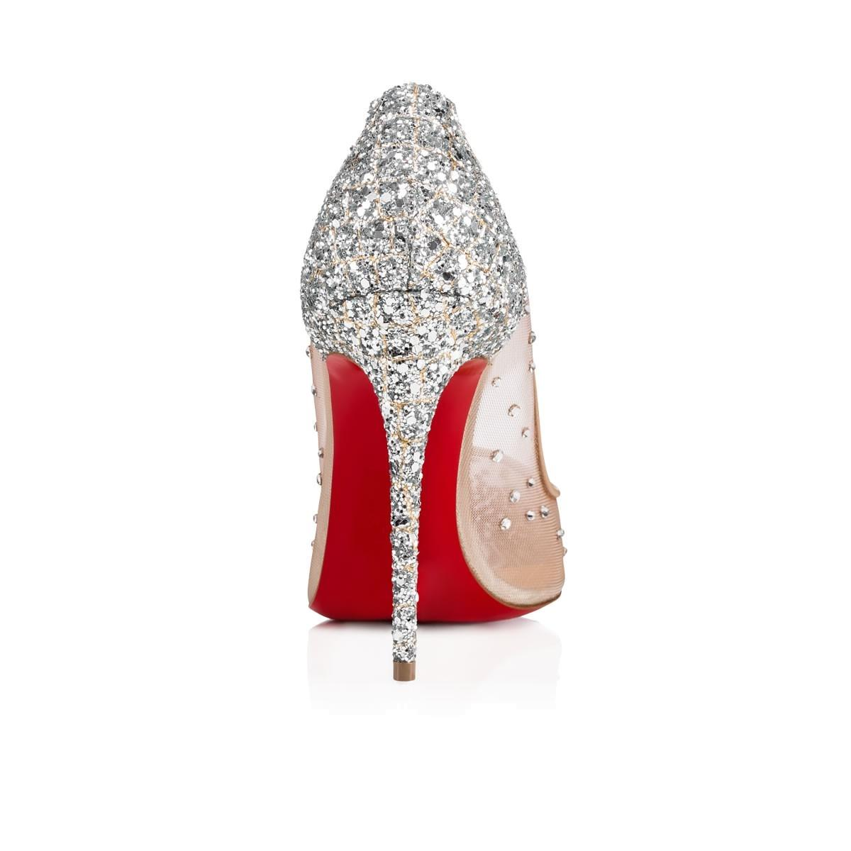 new products 4ec87 41c10 Christian Louboutin Silver Follies Strass 100 Glitter Nude ...