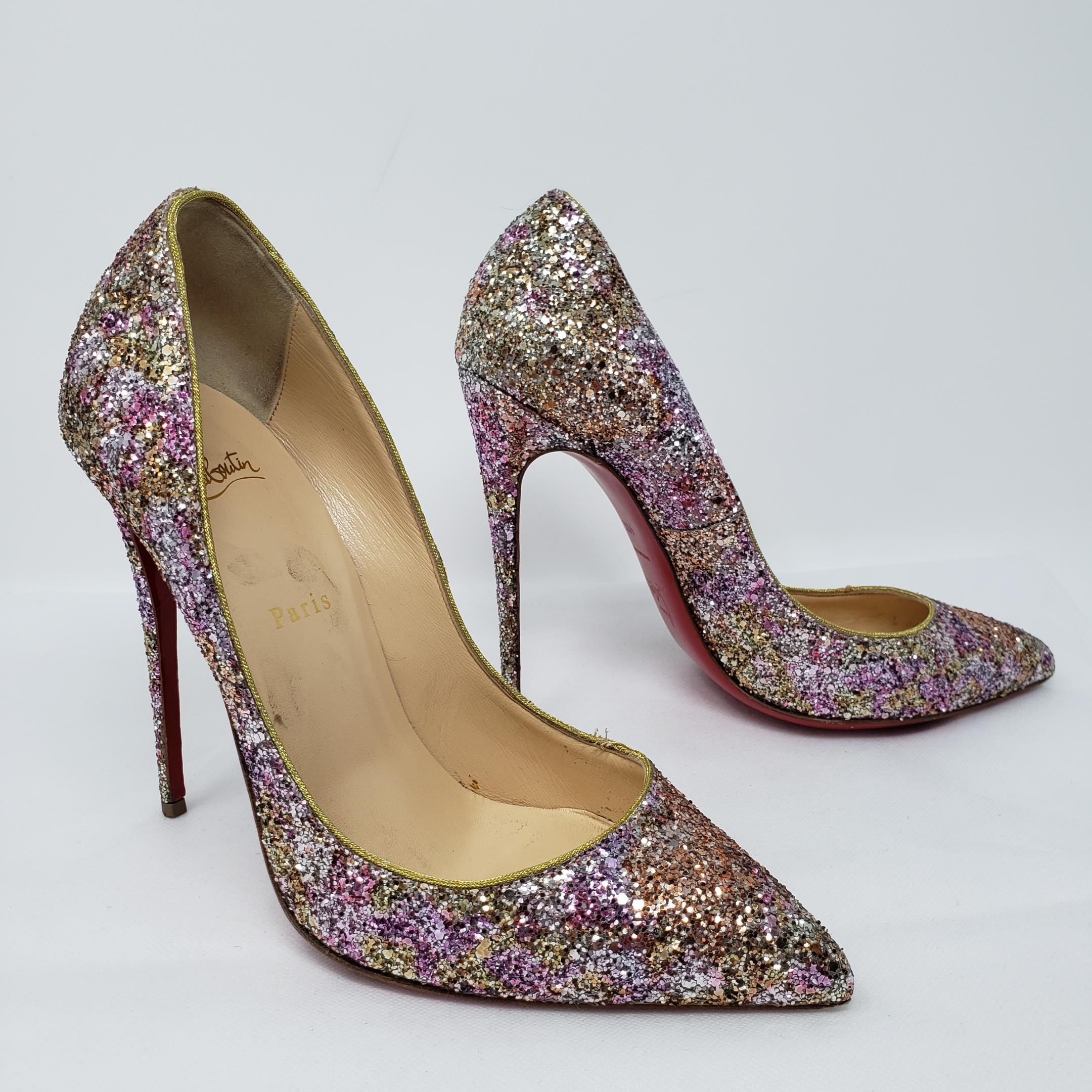 info for 93bca fcb85 Christian Louboutin Silver Silver Silver Glitter Pigalle ...