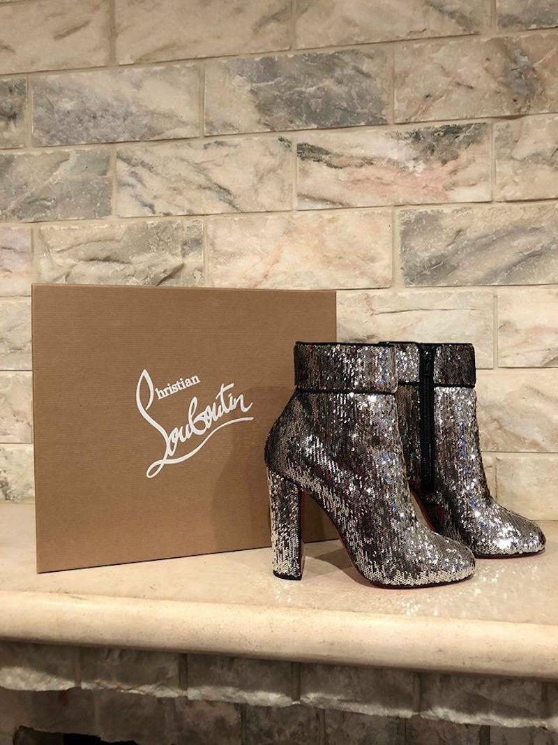 13678bc793a2 ... Christian Louboutin Silver Moulamax 100 100 100 Sequin Glitter Heel  Boots Booties Size EU 38 ...