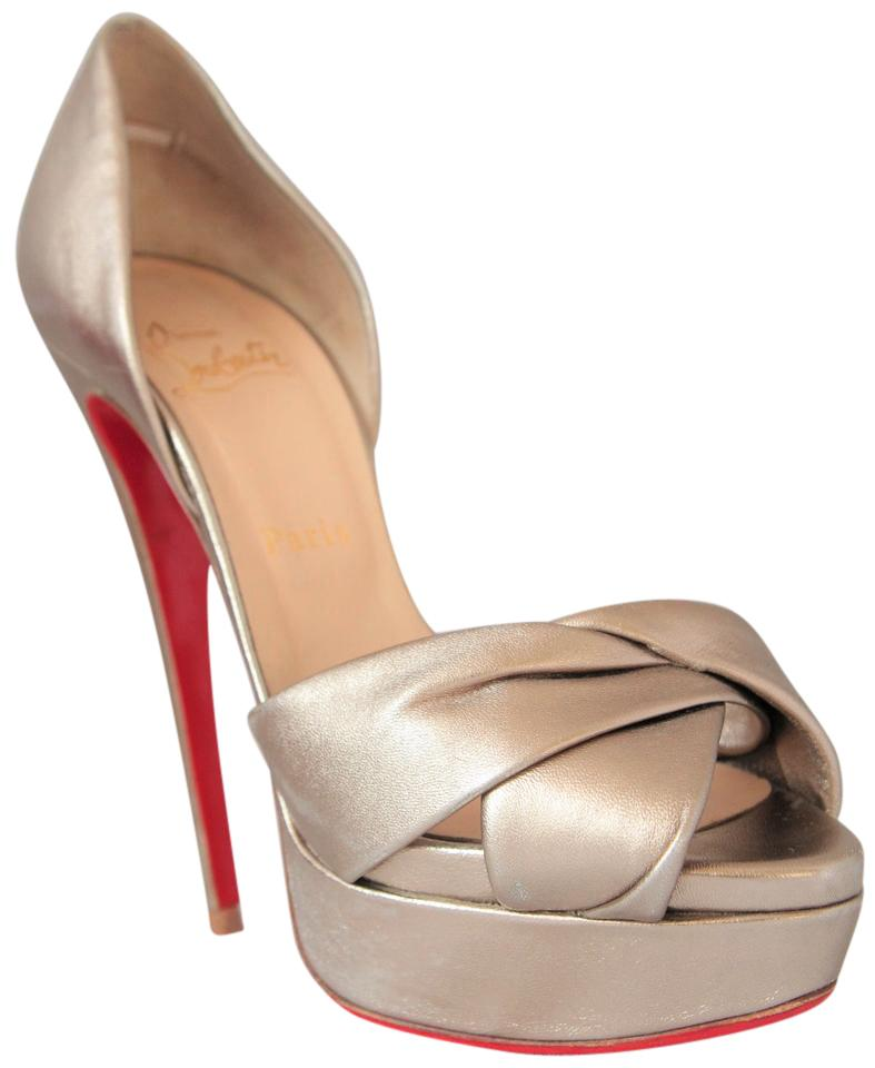 34367ddba8b9 Christian Louboutin Silver Volpi D orsay 39 It High Heel Heel Heel Sandal  Lady Fashion