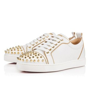 Christian Louboutin Spike Gold Leather Sneakers Loub White Athletic